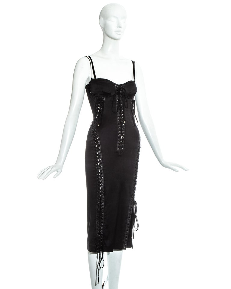 Dolce & Gabbana black silk spandex and leather corseted evening dress, ss 2003 For Sale 1