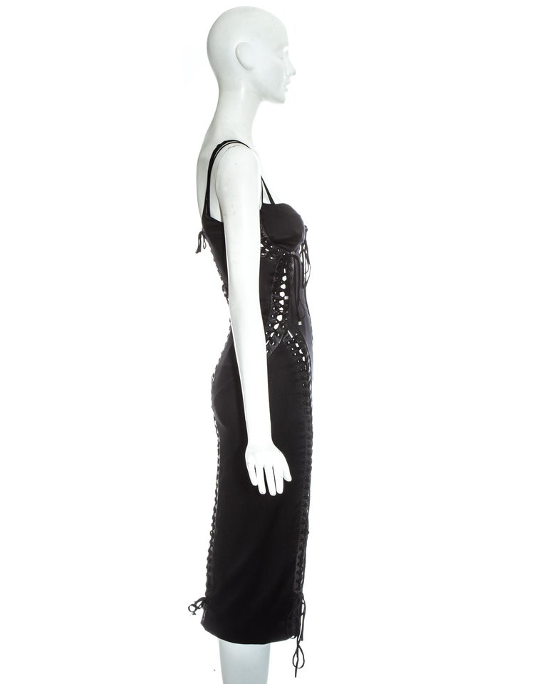 Dolce & Gabbana black silk spandex and leather corseted evening dress, ss 2003 For Sale 3