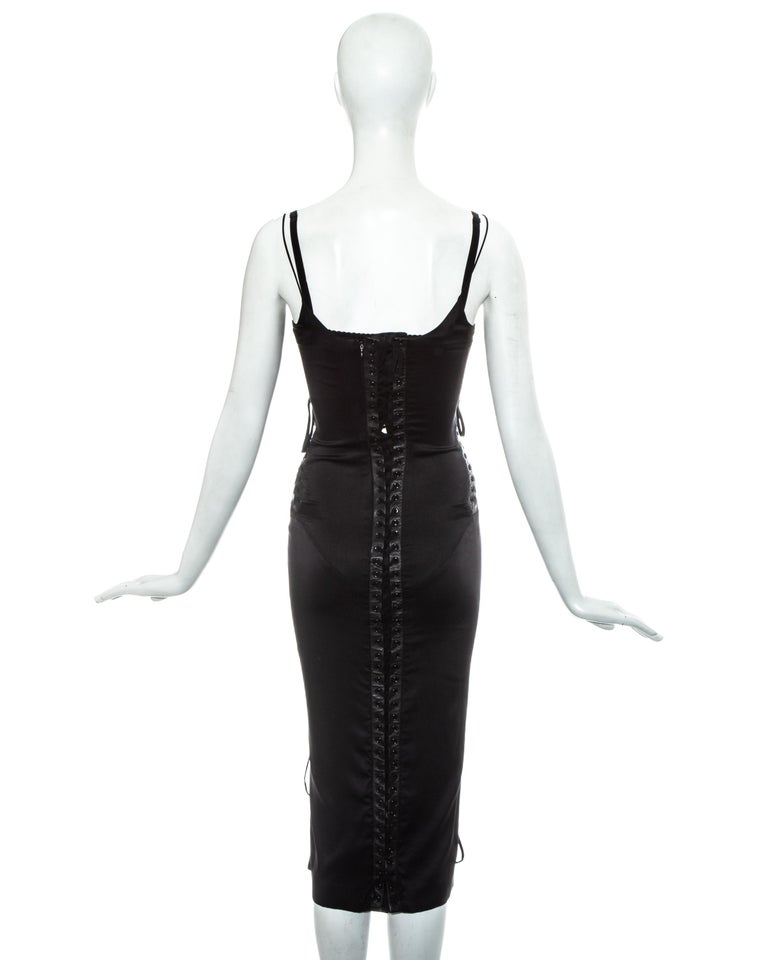 Dolce & Gabbana black silk spandex and leather corseted evening dress, ss 2003 For Sale 4