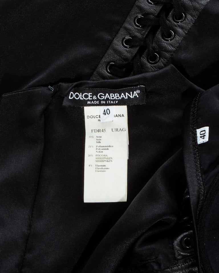 Dolce & Gabbana black silk spandex and leather corseted evening dress, ss 2003 For Sale 5