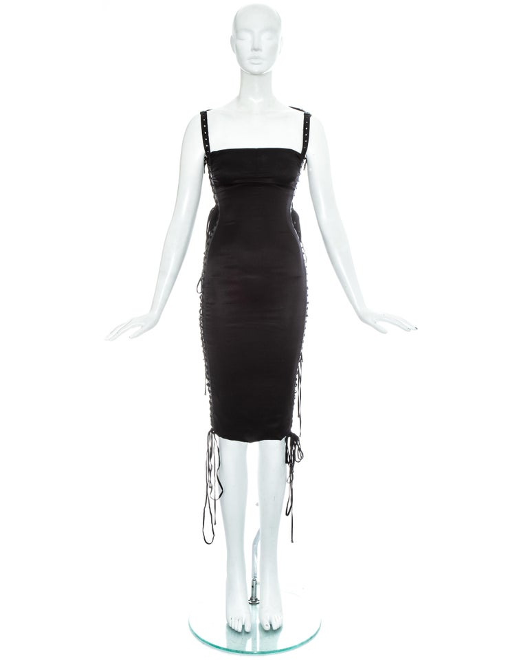 Women's Dolce & Gabbana black silk spandex and leather lace up dress, ss 2003 For Sale