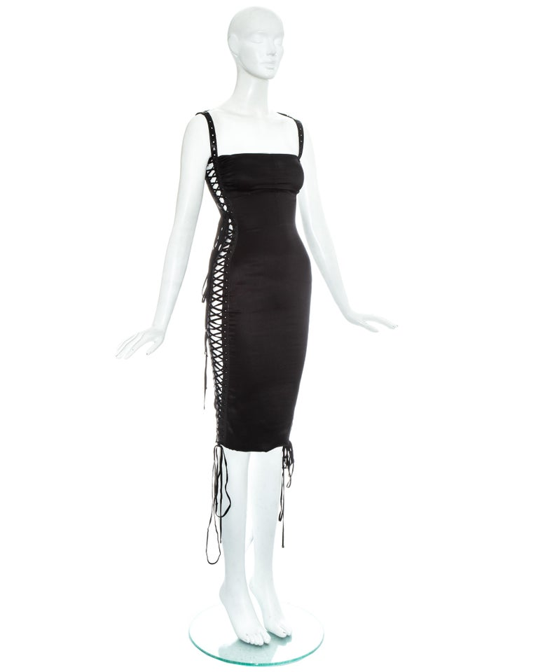 Dolce & Gabbana black silk spandex and leather lace up dress, ss 2003 For Sale 2