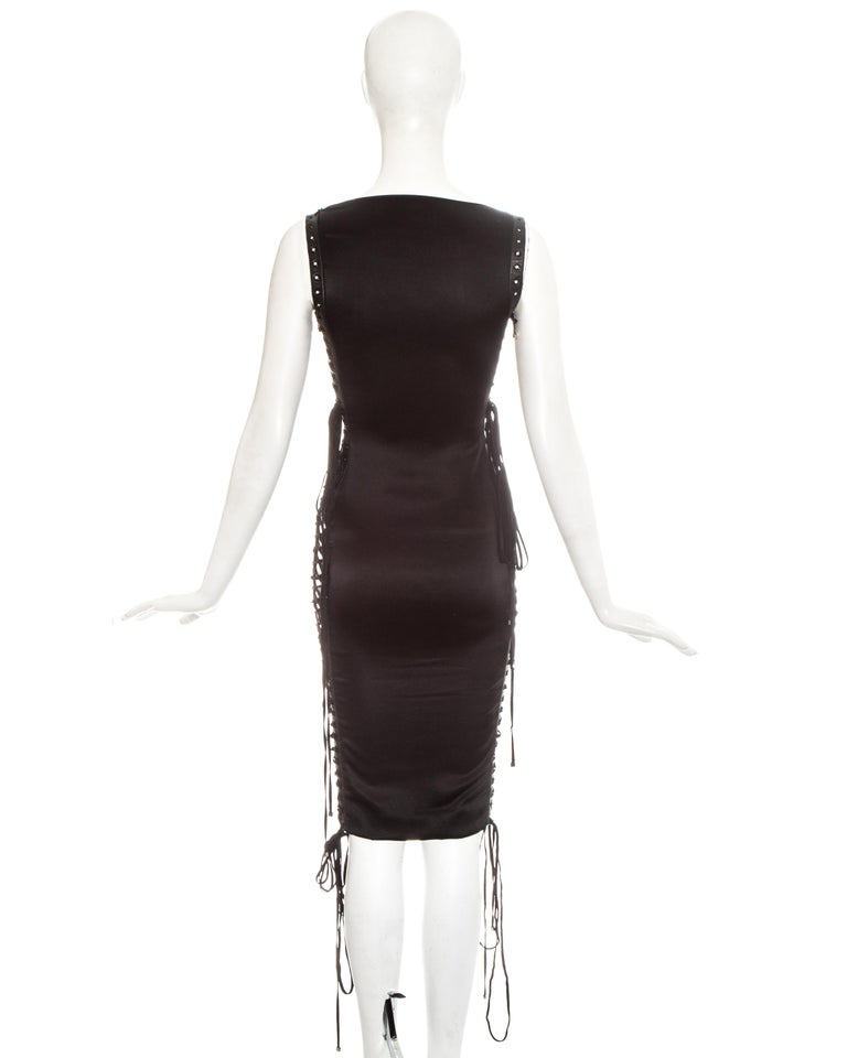 Dolce & Gabbana black silk spandex and leather lace up dress, ss 2003 For Sale 5