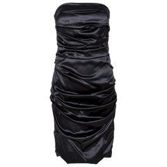 Dolce & Gabbana Black Silk Strapless Gathered Dress M