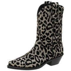 Dolce & Gabbana Black/Silver Animal Print Lurex and Velvet Cowboy Boots Size 36
