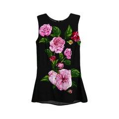 Dolce & Gabbana Black Sleeveless Top w/ Rose Print sz IT 36