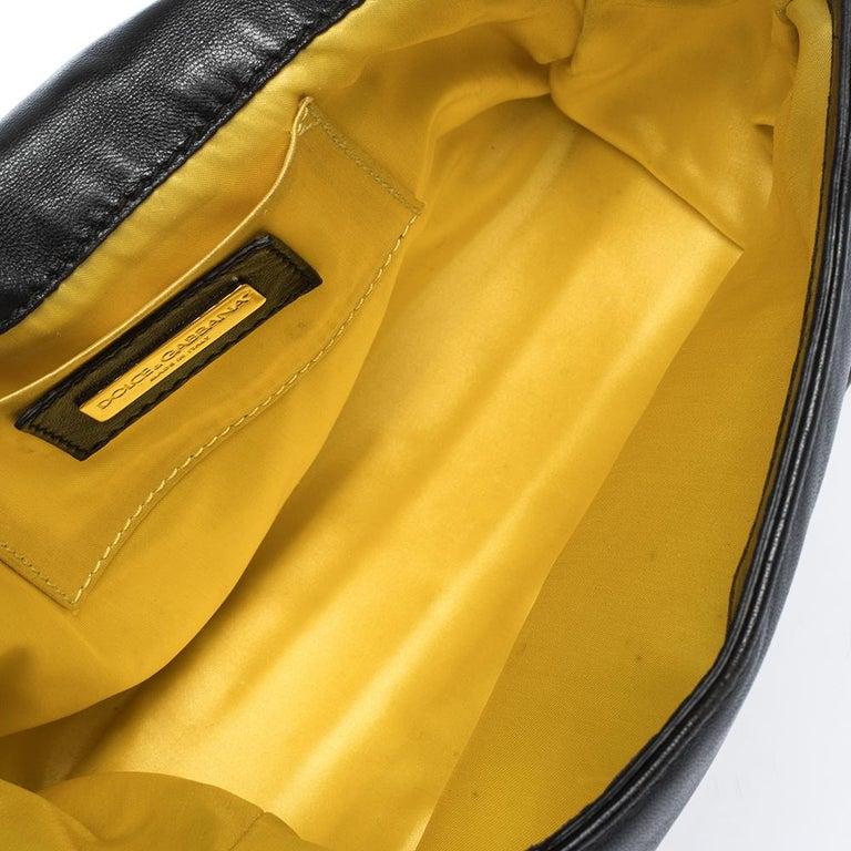 Dolce & Gabbana Black Soft Leather Double Handle Satchel For Sale 6