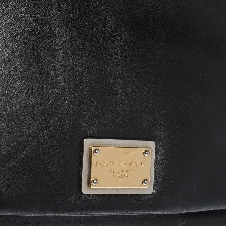 Dolce & Gabbana Black Soft Leather Double Handle Satchel For Sale 7