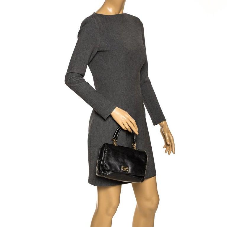 Dolce & Gabbana Black Soft Leather Double Handle Satchel In Good Condition For Sale In Dubai, Al Qouz 2