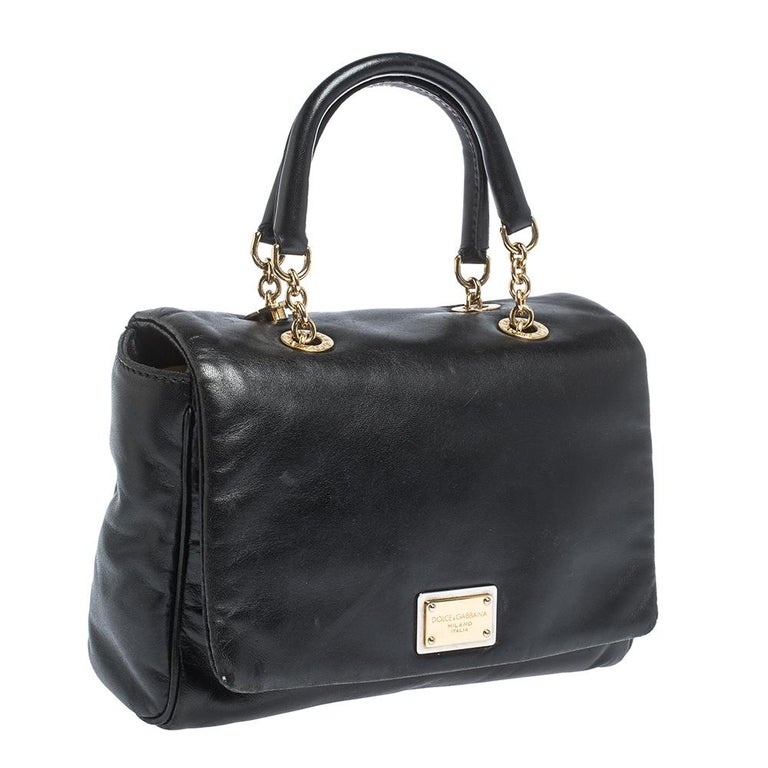 Women's Dolce & Gabbana Black Soft Leather Double Handle Satchel For Sale