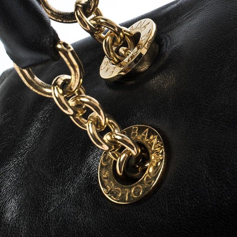Dolce & Gabbana Black Soft Leather Double Handle Satchel For Sale 4