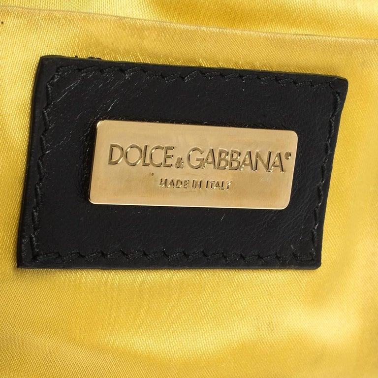 Dolce & Gabbana Black Soft Leather Double Handle Satchel For Sale 5