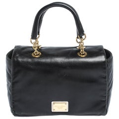 Dolce & Gabbana Black Soft Leather Double Handle Satchel