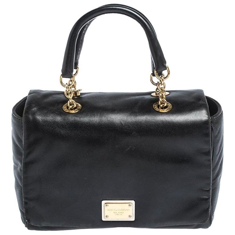 Dolce & Gabbana Black Soft Leather Double Handle Satchel For Sale