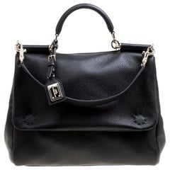 Dolce & Gabbana Black Soft Leather Large Sicily Top Handle Bag
