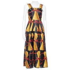 Dolce & Gabbana Black Spaghetti Print Silk Organza Midi Dress S
