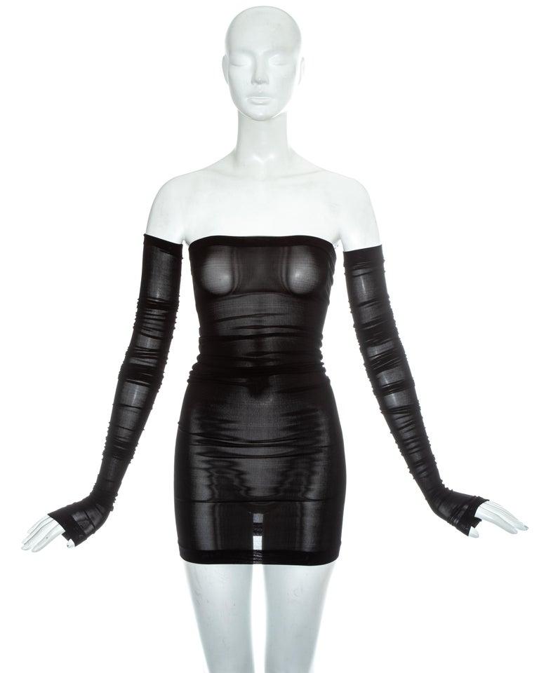 Dolce & Gabbana black spandex figure hugging strapless mini dress and detaches sleeves  Spring-Summer 2003
