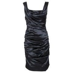 Dolce & Gabbana Black Stretch Silk Ruched Sleeveless Dress M