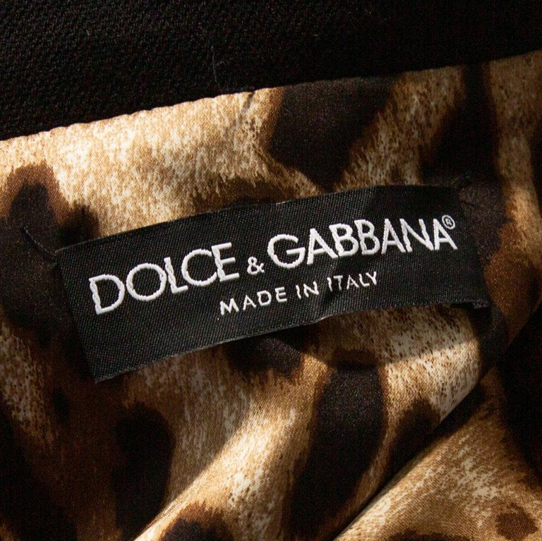 Dolce & Gabbana Black Stretch Wool Basketweave Pea Double Breasted Coat IT 42 In New Condition In Dubai, Al Qouz 2