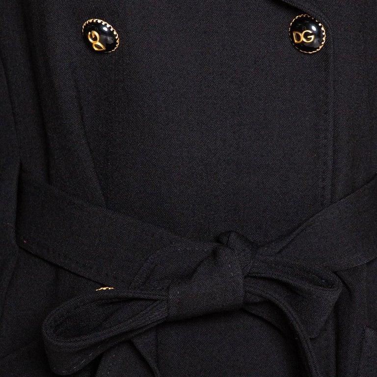 Women's Dolce & Gabbana Black Stretch Wool Basketweave Pea Double Breasted Coat IT 42
