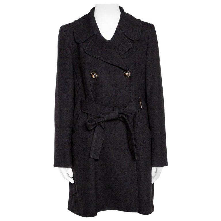 Dolce & Gabbana Black Stretch Wool Basketweave Pea Double Breasted Coat IT 42