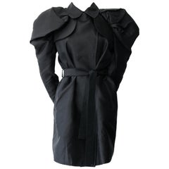 Dolce & Gabbana Black Structured Shoulders Trench Coat