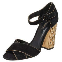 Dolce & Gabbana Black Suede Crystal Embellished Block Heel Sandals Size 38.5