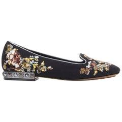 DOLCE GABBANA black suede royalty key sequin studded heel flat loafer EU35