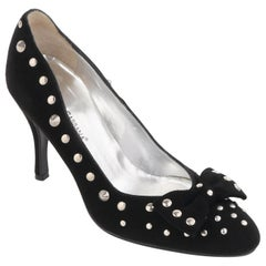 DOLCE & GABBANA Black Suede Silver Studded Vamp Bow Almond Toe Pumps Heels