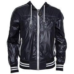 Dolce & Gabbana Black Synthetic Zip Front Hooded Jacket M
