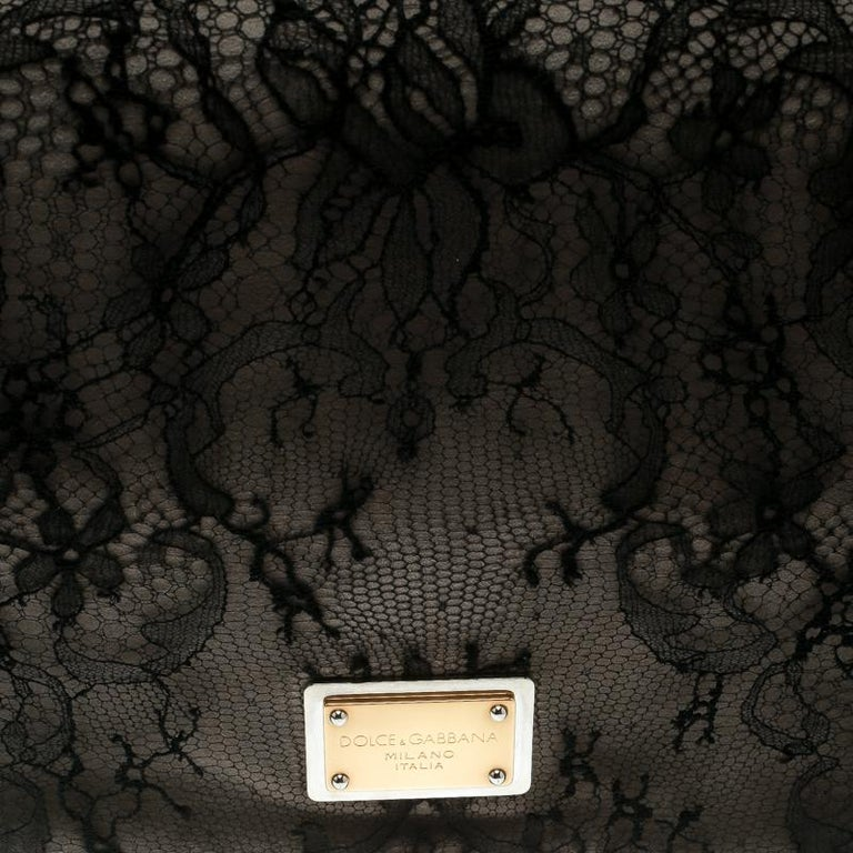 Dolce & Gabbana Black/Taupe Lace and Suede Miss Charles Shoulder Bag For Sale 6