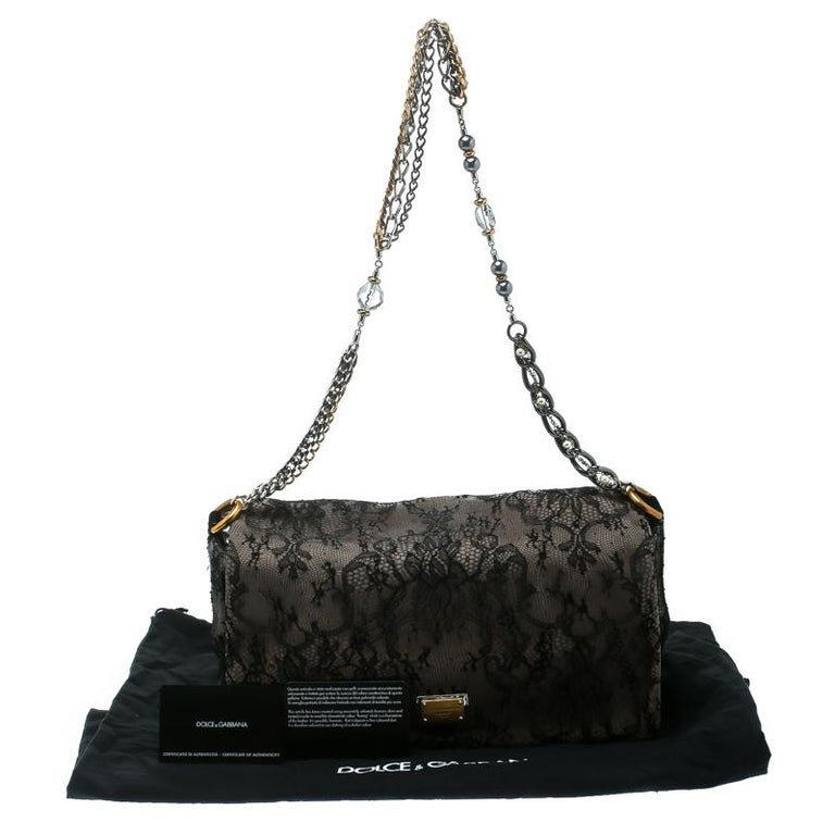 Dolce & Gabbana Black/Taupe Lace and Suede Miss Charles Shoulder Bag For Sale 7