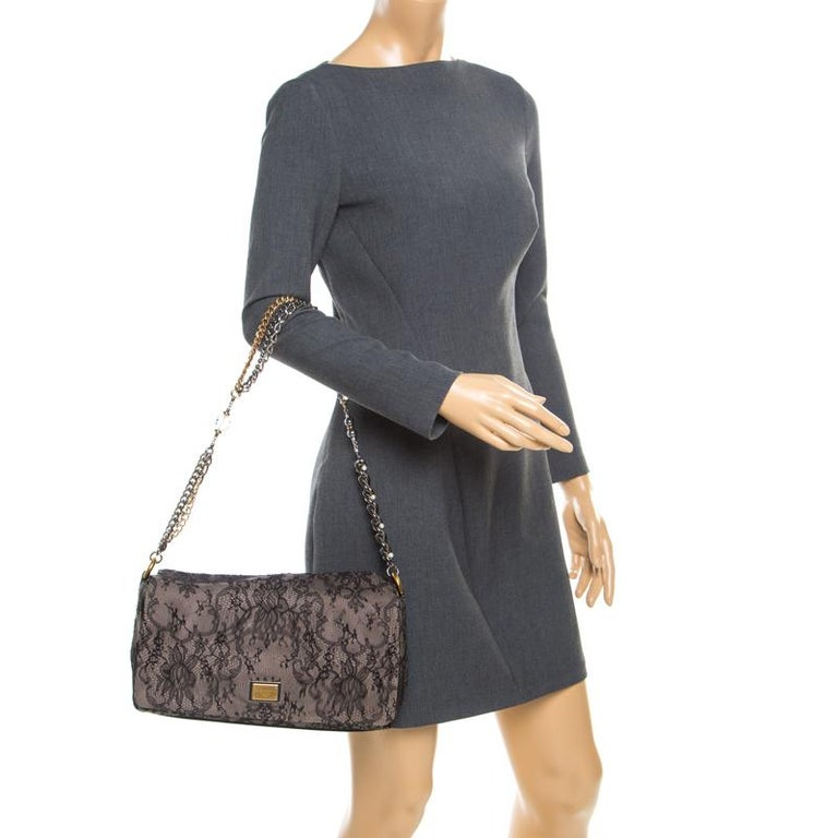 Dolce & Gabbana Black/Taupe Lace and Suede Miss Charles Shoulder Bag In Good Condition For Sale In Dubai, Al Qouz 2