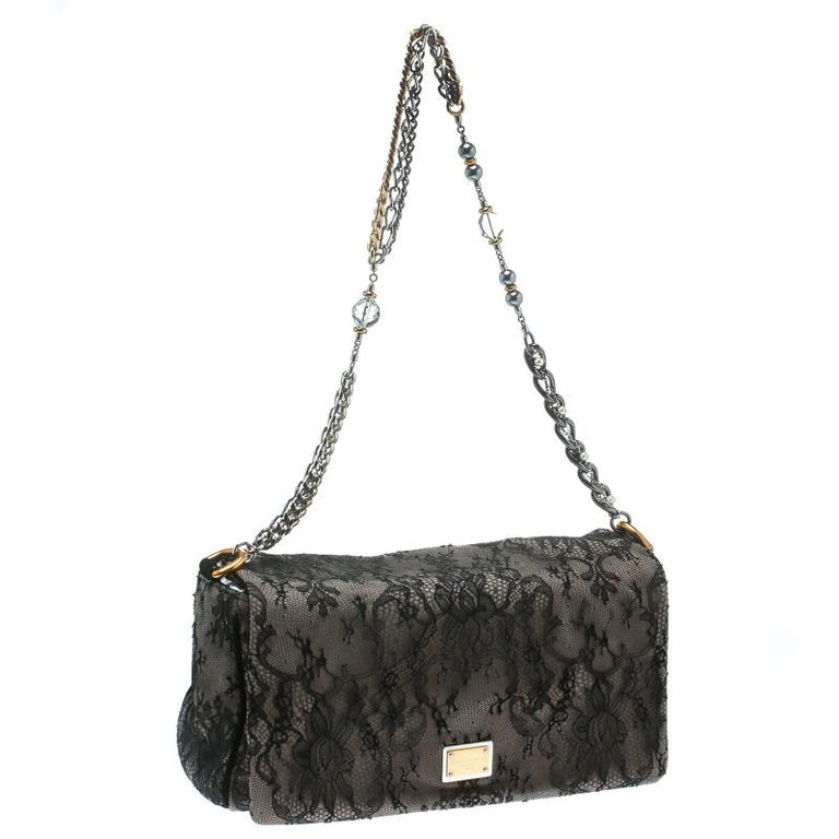 Women's Dolce & Gabbana Black/Taupe Lace and Suede Miss Charles Shoulder Bag For Sale