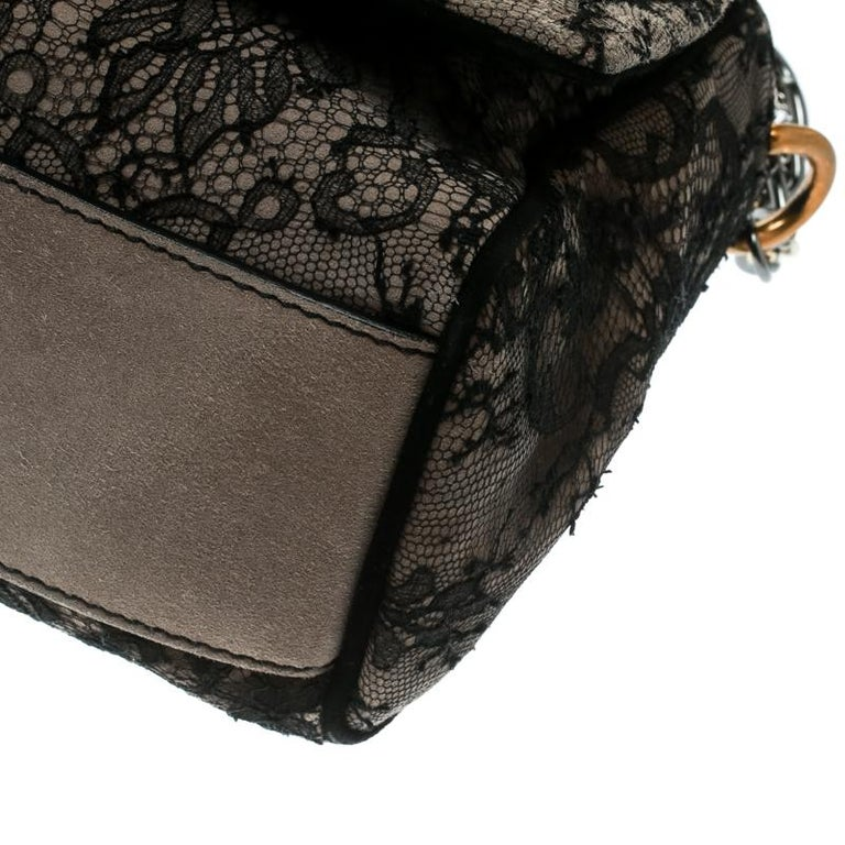 Dolce & Gabbana Black/Taupe Lace and Suede Miss Charles Shoulder Bag For Sale 3
