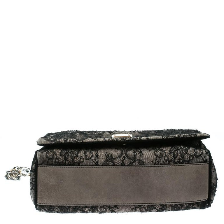 Dolce & Gabbana Black/Taupe Lace and Suede Miss Charles Shoulder Bag For Sale 5
