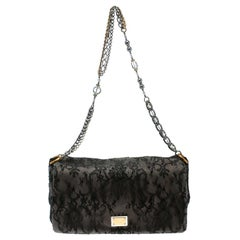 Dolce & Gabbana Black/Taupe Lace and Suede Miss Charles Shoulder Bag