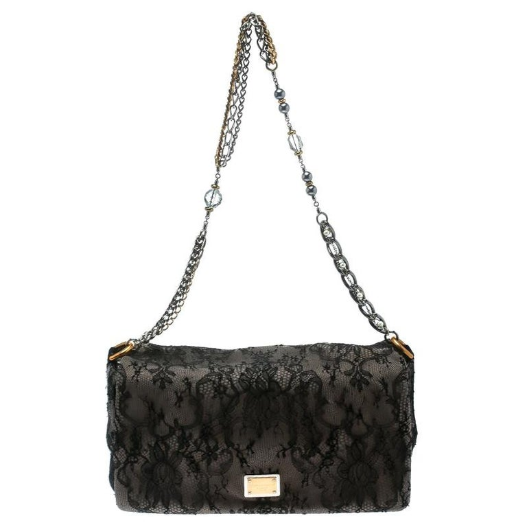 Dolce & Gabbana Black/Taupe Lace and Suede Miss Charles Shoulder Bag For Sale