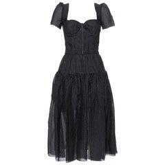 Dolce & Gabbana Black Textured Silk Corset Detail Flared Midi Dress S