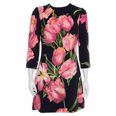Dolce & Gabbana Black Tulip Print Crepe Shift Dress L