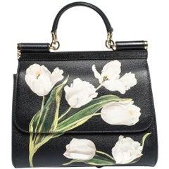 Dolce & Gabbana Black Tulip Print Leather Medium Miss Sicily Bag