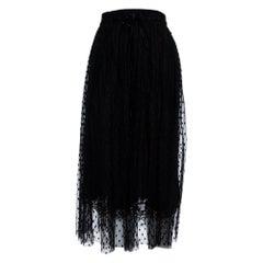 Dolce & Gabbana Black Tulle Point D'esprit Midi Skirt S
