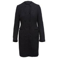 Dolce & Gabbana Black Tweed Coat