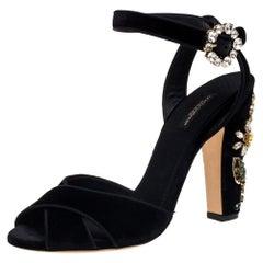 Dolce & Gabbana Black Velvet Crystal Embellished Sandals Size 39