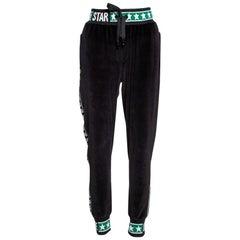 Dolce & Gabbana Black Velvet DG Logo Bands Track Pants IT 44