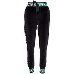 Dolce & Gabbana Black Velvet DG Logo Bands Track Pants IT 48