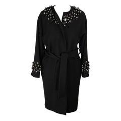 DOLCE & GABBANA Black Virgin Wool Embellished COAT with Belt Size 38
