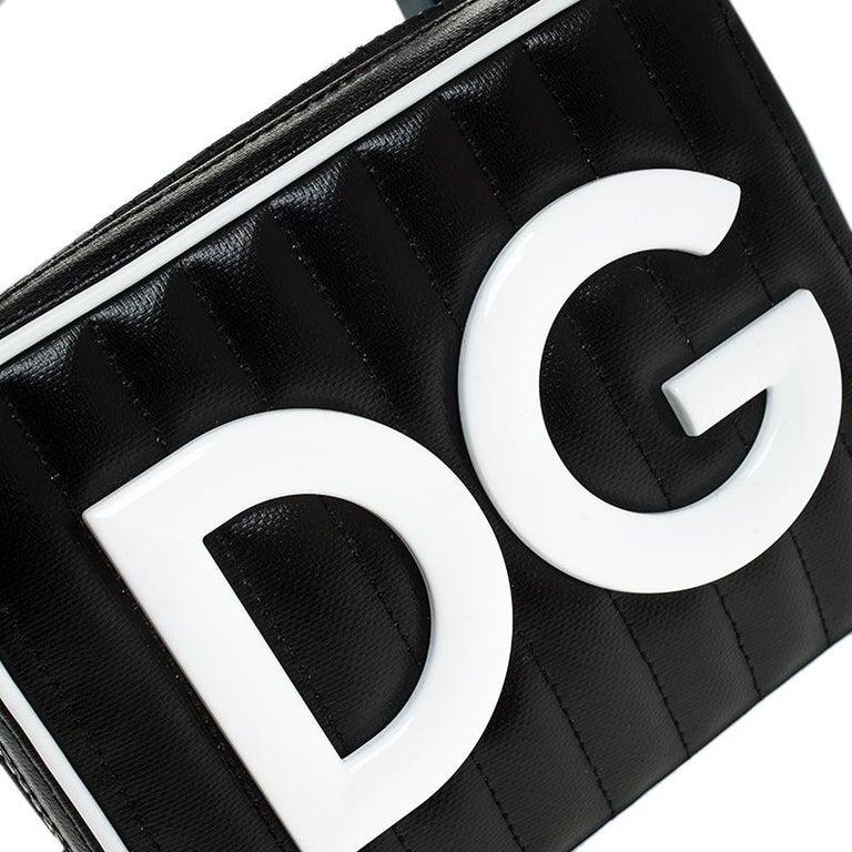 Dolce & Gabbana Black/White Coated Canvas DG Girls Crossbody Bag For Sale 6