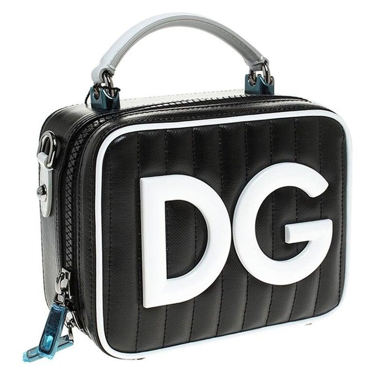 Women's Dolce & Gabbana Black/White Coated Canvas DG Girls Crossbody Bag For Sale