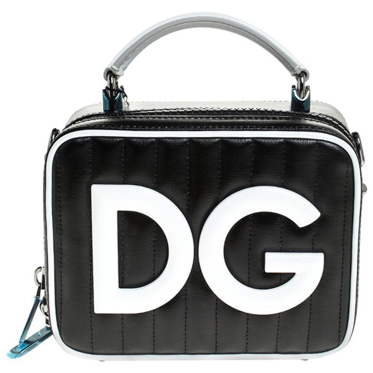 Dolce & Gabbana Black/White Coated Canvas DG Girls Crossbody Bag For Sale